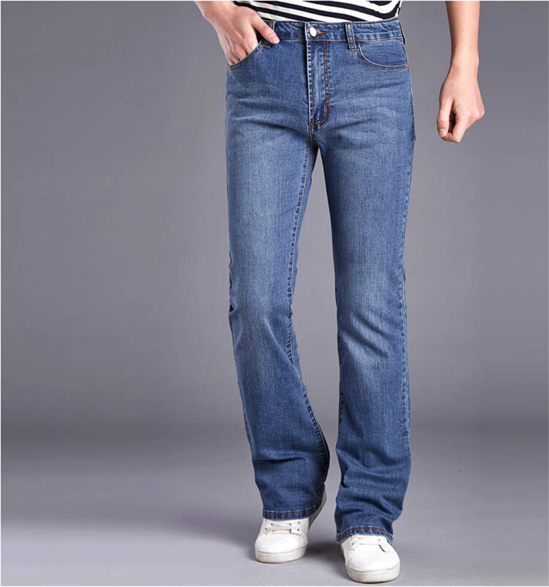 Free Shipping Mens Business Casual Jeans Male Mid Waist Elastic Slim Boot Cut Semi-flared Four Seasons Bell Bottom Jeans 27-36Одежда и ак�е��уары<br><br><br>Aliexpress