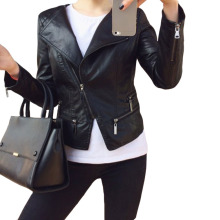 Faux Soft Leather Jackets HOT 2017 New Fashion Autumn Winter Women Pu Black Blazer Zippers Coat Motorcycle Outerwear pimkie(China)