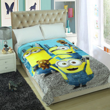 Minions Cartoon Blankets Doraemon Plush Kids Fleece Blanket Bed Throw Blanket on The Bed/Sofa/Car Size 150*200cm(China)