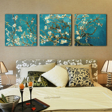 Triptych Blossoming Almond Tree Pictures Van Gogh Reproduction Painting Wall Art Canvas Prints For Home Decoration Framed No