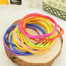 10Pcs High Quality Plastic Elastic Hair Bands Ring Shaped With Beads Ponytail Holders Hair Accessories For Kids Women