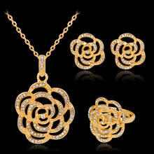 2017 Limited Jewelry 2017new Magazine Fashion Personality European And American Wind Rose Crystal Alloy Sets Of Three