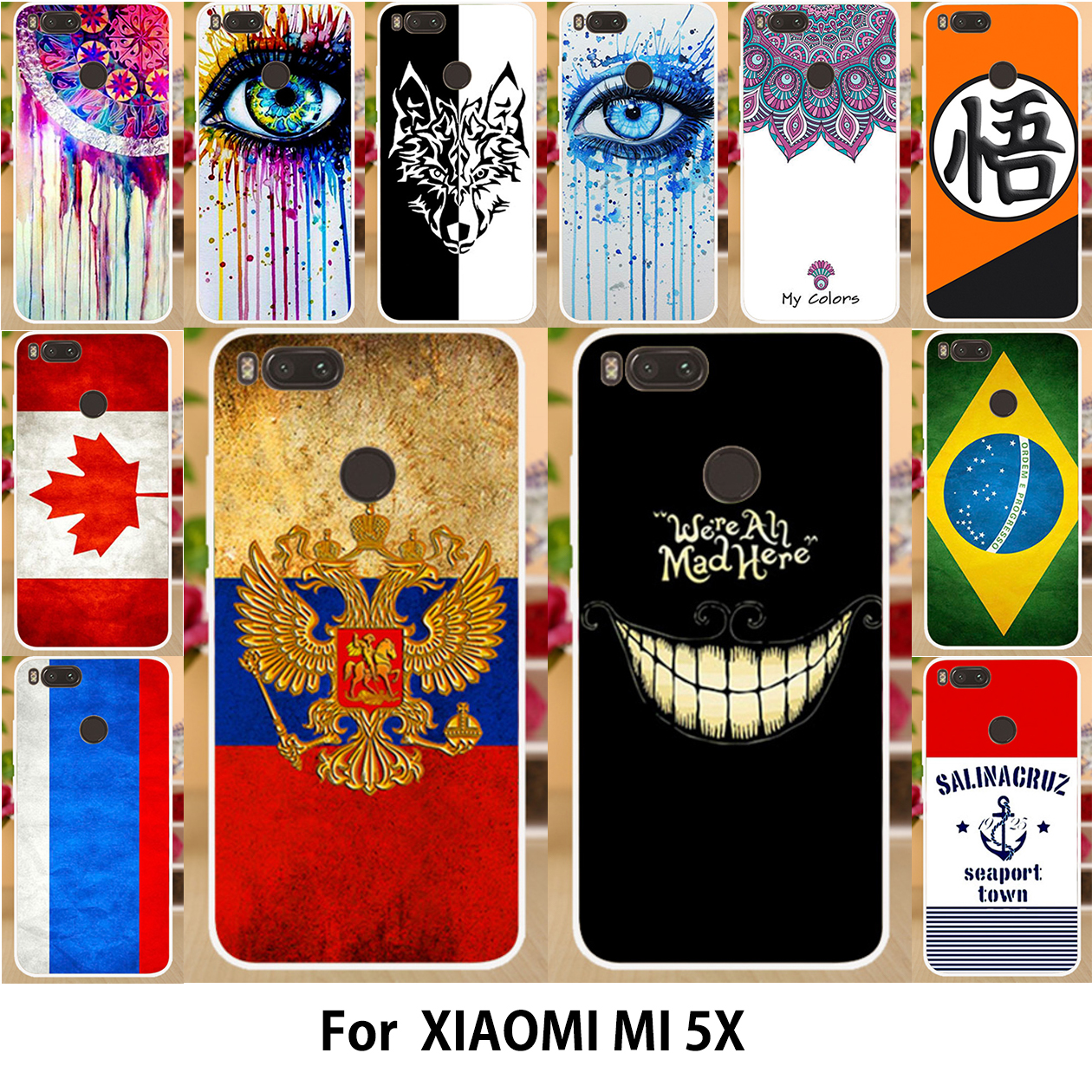 AKABEILA TPU Cases Xiaomi Mi A1 Case Silicon MiA1 Mi 5X Cover Cute Mi5X National Flag Smiling Face Patterns Phone Shell