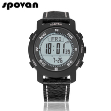SPOVAN Brand Men's Sports Watches Sapphire Crystal Mirror, Genuine Leather Band, Military Watch Compass/Pacer Bravo2
