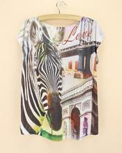 Discount New 2015 High quality women novelty Tees Blusas Tops zebra print t shirt women's t-shirt triumphal arch pattern tshirt