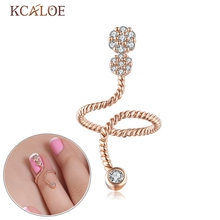 KCALOE Rhinestone Nail Ring For Women Adjustable Size Cubic Zirconia Silver Plated And Rose Gold Punk Rock Knuckle Nail Rings