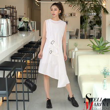 2017 Korean Style Summer Women White Black Solid Sleeveless Dress O-Neck Asymmetrical Girls Sexy Fashion Party Vestido 2581 - stella marina collezione Official Store store