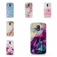 Fashion Luxury Floral Painted 3D Relief for Motorola Moto E3 E 3rd Gen Case For MOTO E 3 Beauty Flower Cell Phone Cases Cover(China)
