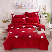 Beautiful Korean love Bedding Sets Luxury Girls red Wedding winter thickens Flannel queen king duvet cover flat sheet pillowcase