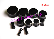 Ear Plug Black Acrylic Flesh Tunnel Ear Taper Ear Stretchers Expander 3-20MM Ear Nail Pierce Fashion Body Piercing 110pcs/lot