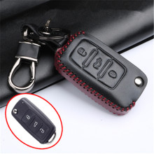 Car Genuine Leather Bag Remote Control Car Keychain Key Cover Case For Vw Passat/Polo/Bora 3Buttons Flip key L425