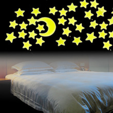 12Pcs Worldwide Stars Moon Sun Glow In The Dark Fluorescent Wall Stickers Home Decal(China)