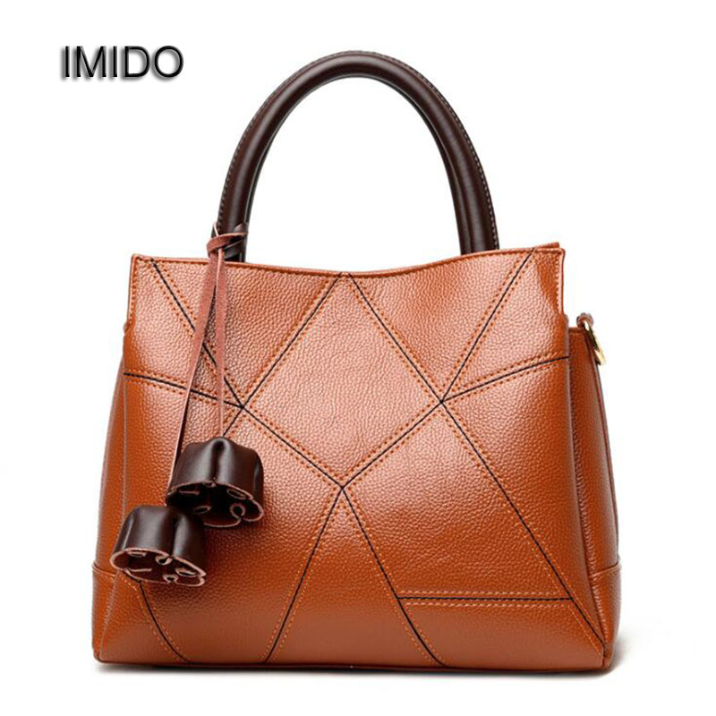 IMIDO New Arrival 2017 Brand Women Handbag Soft Leather PU Fashion Shoulder Bag Large Capacity Tote Bag Female Orange Red HDG029<br>