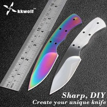 KKWOLF DIY pocket Knife Blanks 440c Sharp Fixed blade Hunting Knife camping knifeblade billet outdoor EDC Self-defense survival