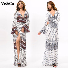 2017 Summer Women Kaftan Beach Cardigan Long Bikini Cover Ups Pareo Beach Tunic Dress Bohemia Polyester Bathing Suit Cover Up(China)