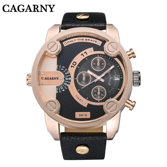 2016  new CAGARNY military sports and fashion men watch double movement quartz watch Relogio Masculino leather antique table<br>