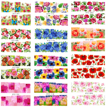 50Sheets Hot Beauty Flower Full Wraps Nail Art Water Transfer Sticker Decorations of DIY Charm Foils Decals Tools TRSTZ086-133