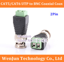 50PCS Free Shipping CAT5/CAT6 UTP to BNC Coaxial Coax Video Balun Connector power Adapter CCTV Security system