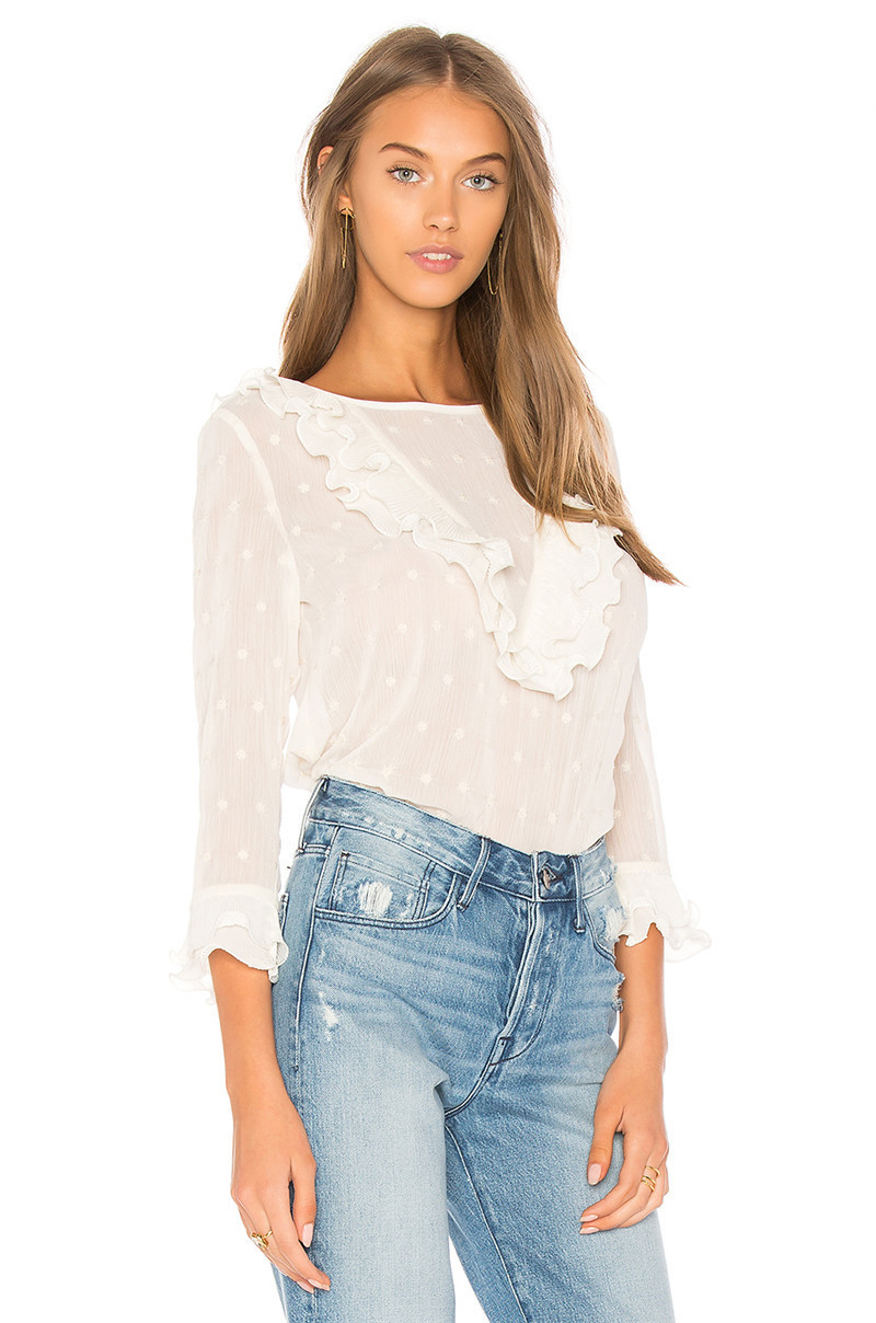 Women Blouse Puff Sleeved White Lace Long Sleeve Shirt Casual Loose Ruffle To-JT