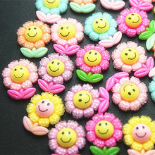 Mix Colors 30pcs  17*21mm Cute Smile Sunflowers Flatback Cabochon DIY Scrapbooking Decorative Craft Making