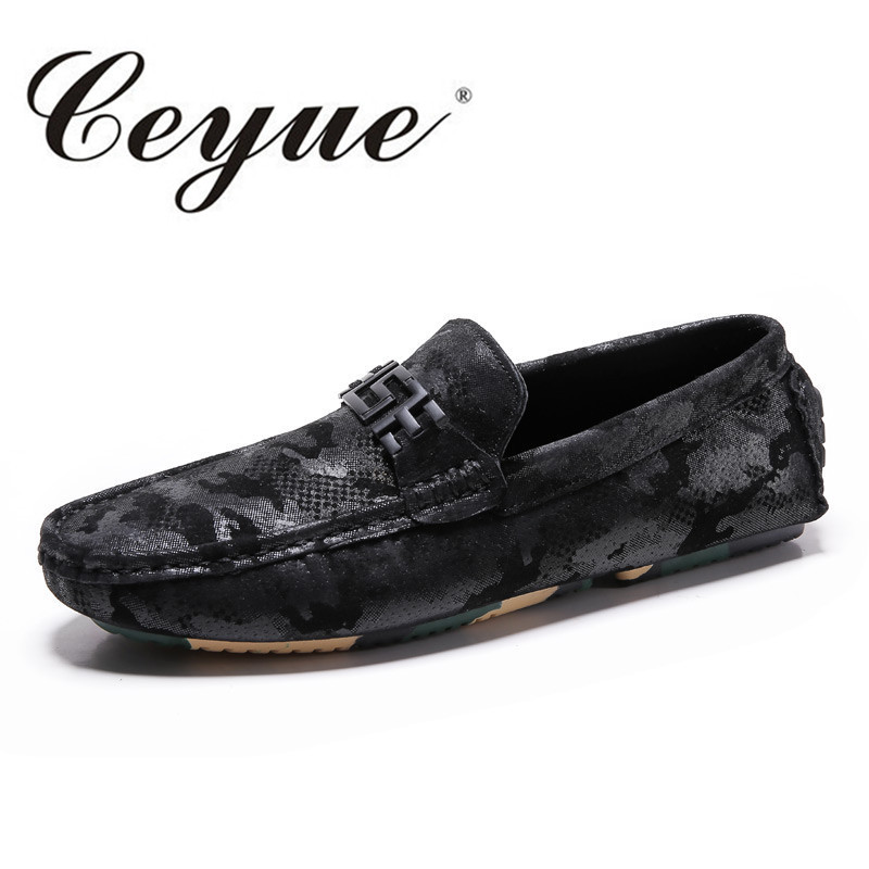 Ceyue 2017 Autumn Leather Suede Men Loafers Comfort Business Driving Shoes Handmade Military Camouflage Rubber Men Casual Shoes<br>