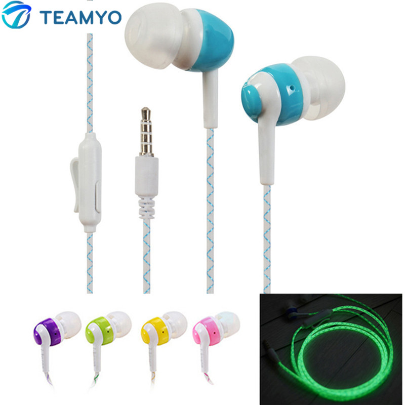 Teamyo Glow In The Dark Earphones Luminous Good Bass Headset Flashing Glowing Earphones Night Lighting For iPhone Samsung Xiaomi<br>