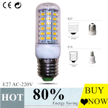 2017 SUPER   Led bulb E27 E14 5730SMD ac 220V 24 36 48 56 69LEDs  Led Corn lamp  Christmas Chandelier Candle Lighting