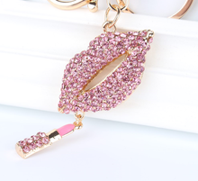 Pink Lip Lipstick Pendant Charm Rhinestone Crystal Purse Bag Keyring Key Chain Accessories Wedding Party Lover Gift(China)