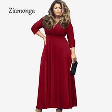 Ziamonga 2017 Autunno Inverno Big Size Abbigliamento Donna Plus Size lungo  maxi abiti mezza manica sexy ffb2a53f69f