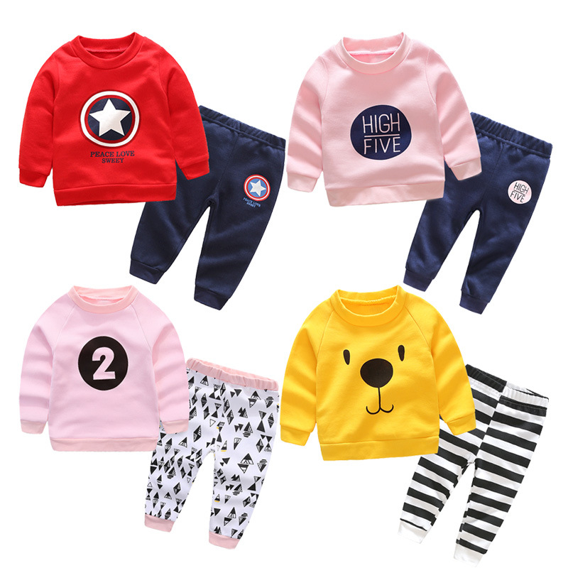 YE601-YE609 Pullover Cartoon stripe Baby Boys Girls Clothes Comfortable Cotton Babys Sets<br>