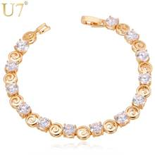 U7 Crystal Bracelet Vintage Trendy Silver/Gold Color Cubic Zirconia Jewelry Bridesmaid Gift Tennis Bracelets For Women H507