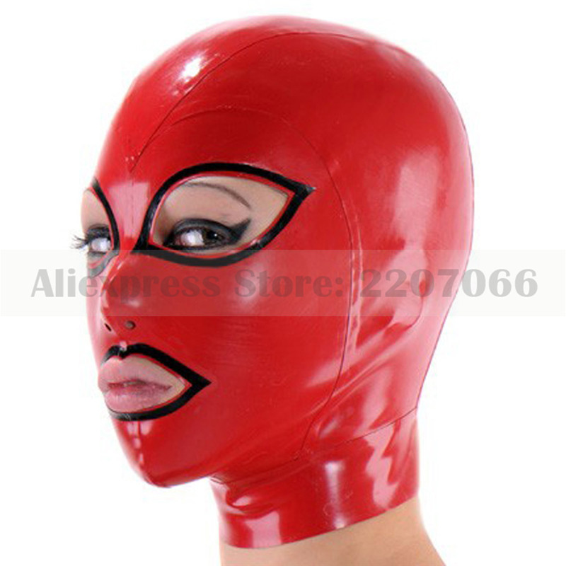 Unisex latex rubber mask hood red and black trims rubber hood with back zip RLM011