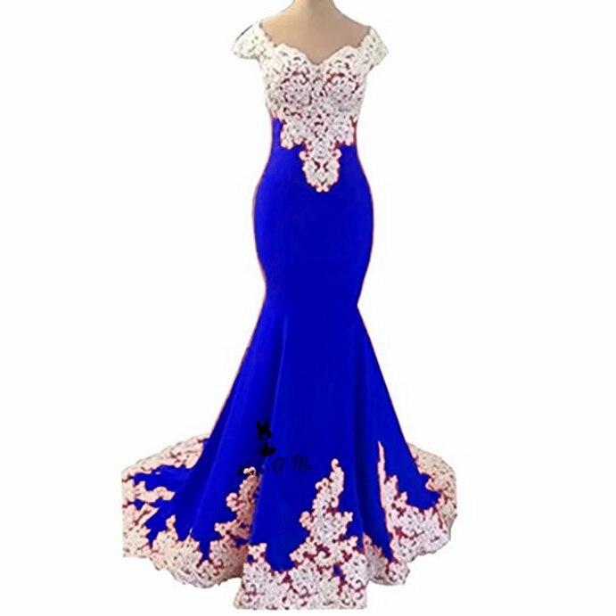 Blue Pink White Lace Mermaid Prom Dresses Long 2018 Cap Sleeve Vestidos de  Festa Chiffon Formal Evening Party Gowns Sweep Train 7e51d0f7a71f