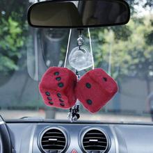 VORCOOL Fuzzy Dice Hanging Charm Auto Car Ornament Rearview Mirror Hanging Accessories for Car Decoration (Red)(China)