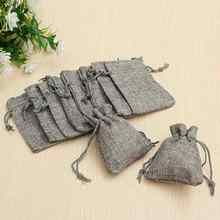 10PCS Burlap Jute Drawstring Bags for Christmas Gift Candy Storage Wedding Decor 9X7cm Baby Shower Vintage Rustic Grey Color(China)