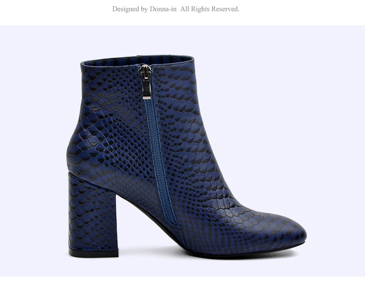 Donna-in 2017 new style ankle boots sexy snake leather women boots retro square toe thick high heel autumn boots 15325-19 (14)