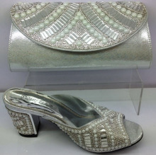 F2558 (5) High qualtiy square heels women slippers italy shoe and handbag set with stones to match bridal dress in SILVER