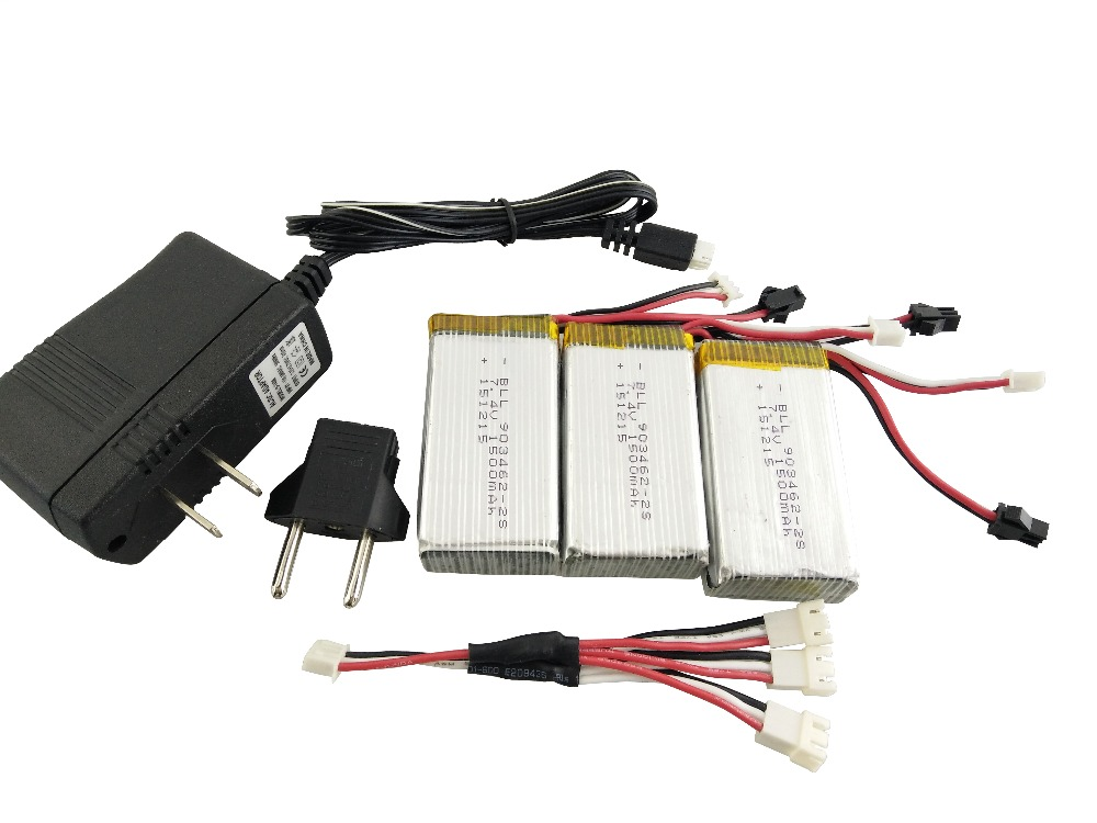 BLL RC 3pcs+1 to 3+Charger 7.4V 1500mAh 2S 20C SM For HJ817 HJ816 RC Remote control aircraft four axis aircraft lithium battery<br>