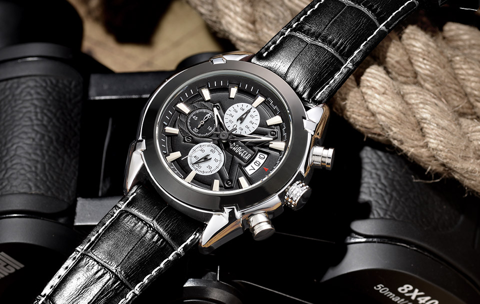 Baogela Mens Chronograph Luminous Hands Date Indicator Fashion Causal Leather Strap Sport Quartz Wrist Watches 14