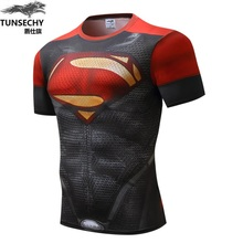 NEW 2017 Captain Fitness tshirt seen Superman breathable men NEW another thanks free shipping grid T shirts America seen breathe