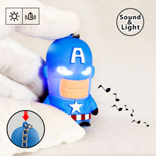 New Captain America LED Flashlight Keychina with sound action toy figures Captain America Keychain toys gift for child kids toys