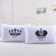 2pcs Royal Crown bedding Pillow Covers Queen King Cat Designer Pillowcase white pillow case(China)