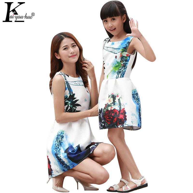 KEAIYOUHUO 2017 Family Matching Clothes Sleeveless Children Clothing Formal Girls Dress Teenagers Party Dresses Mom And Daughter<br><br>Aliexpress