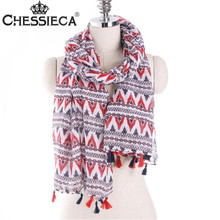 CHESSIECA Spring Red White Wave Pattern Printed Scarves Women Fashion Travel Sea Beach Multi-use Scarf Pashmina Long Shawl Wrap