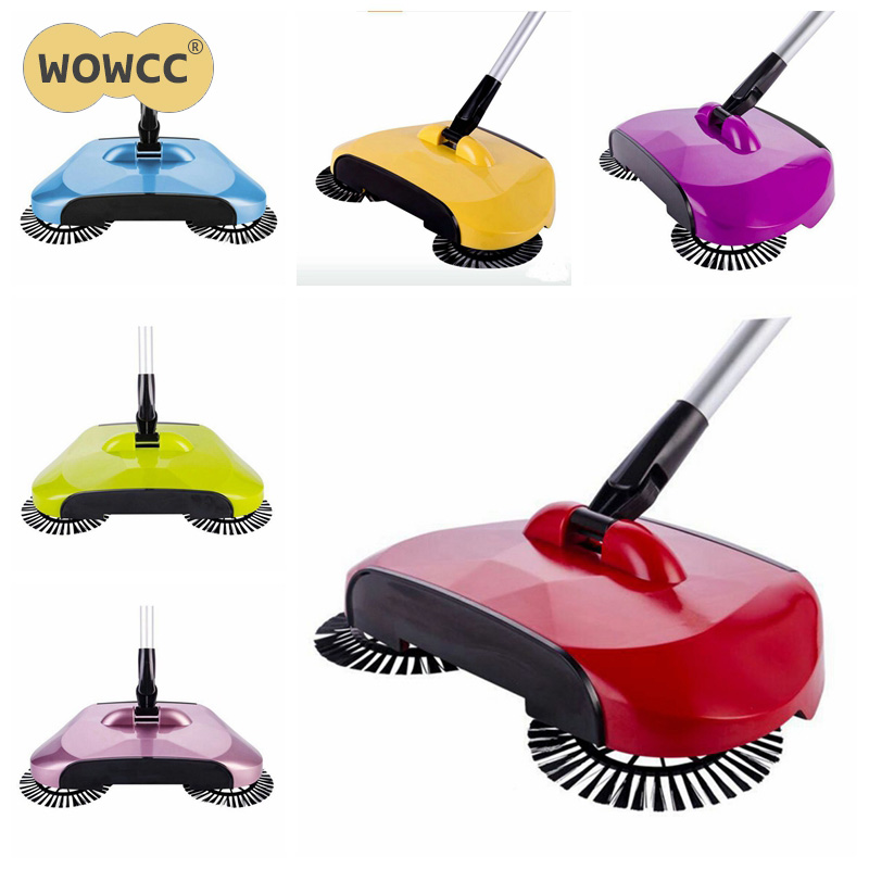 New Stainless Steel Sweeping Machine Push Type Hand Push Magic Broom Dustpan Handle Household Cleaning Package Hand Push Sweeper(China (Mainland))