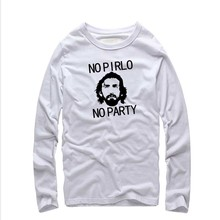 Men Fashion Italian Andrea Pirlo Juventus T Shirts Ringer long Sleeve Pattern Printed Male fitness Casual tee shirts Top Quality