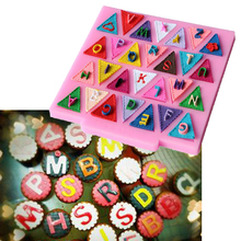 Gift Triangle Flag 26 English Letters Heart Flower Silicone Mold Chocolate Fondant Cake Decorating Tools Cooking(China)
