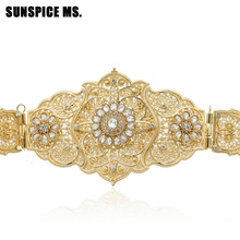 Vintage Luxurious Women Hollow Flower Waist Chain Crystal Gold-Color Metal Enamel Belt Belly Chain Indian Royal Wedding Jewelry(China)