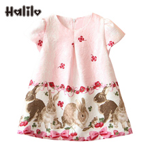Halilo New 2017 Girls Formal Dresses Cartoon Floral Print Toddler Dress Infant Kids Dresses For Girls Summer Children Clothing