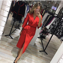 Fall 2017 Fashion European Style Vintage Midi Dress Autumn Casual Sexy Elegant Maxi Party Dresses Red Blue Womens Clothing(China)